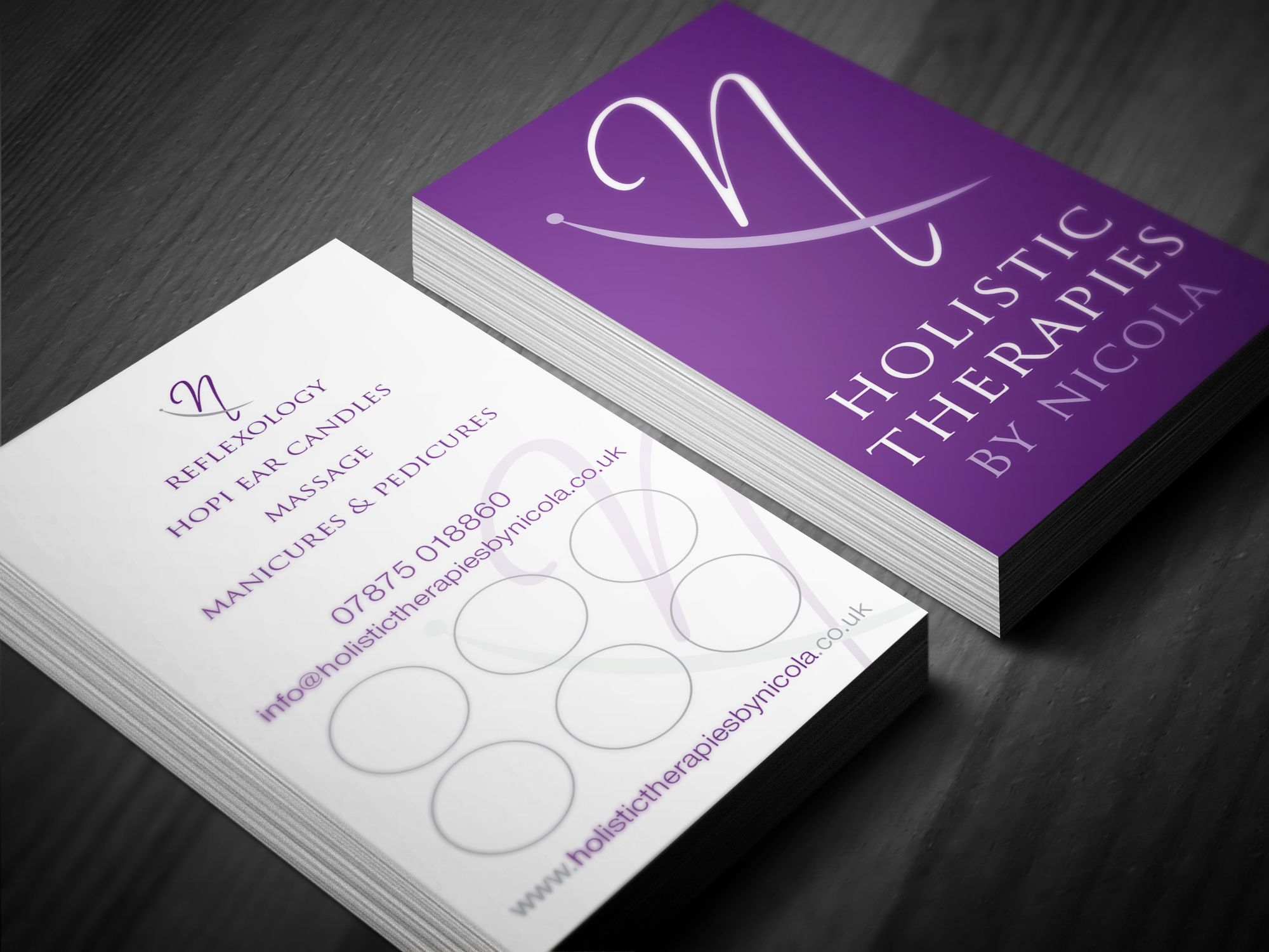 Holistic Therapies by Nicola. Business loyalty card. Gloss laminate ...