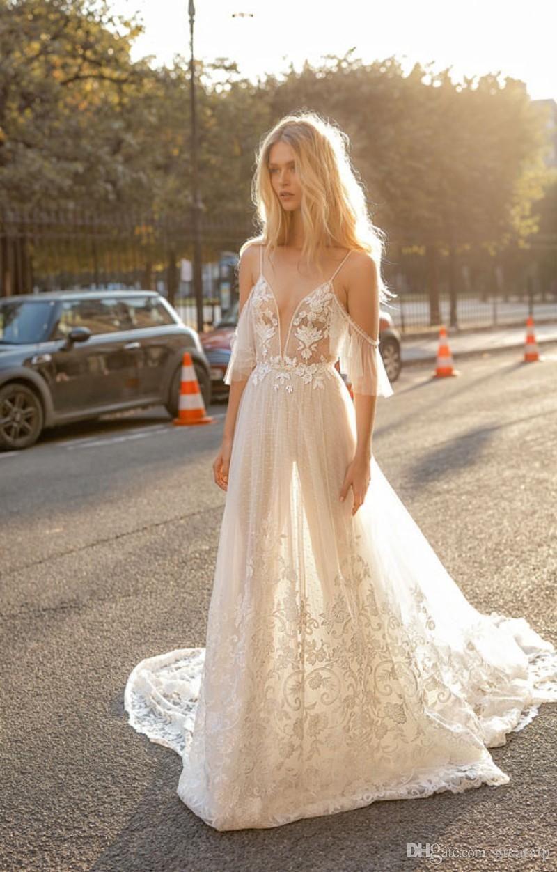 Gali Karten 2019 Spaghetti Wedding Dresses A Line Beach Lace ...