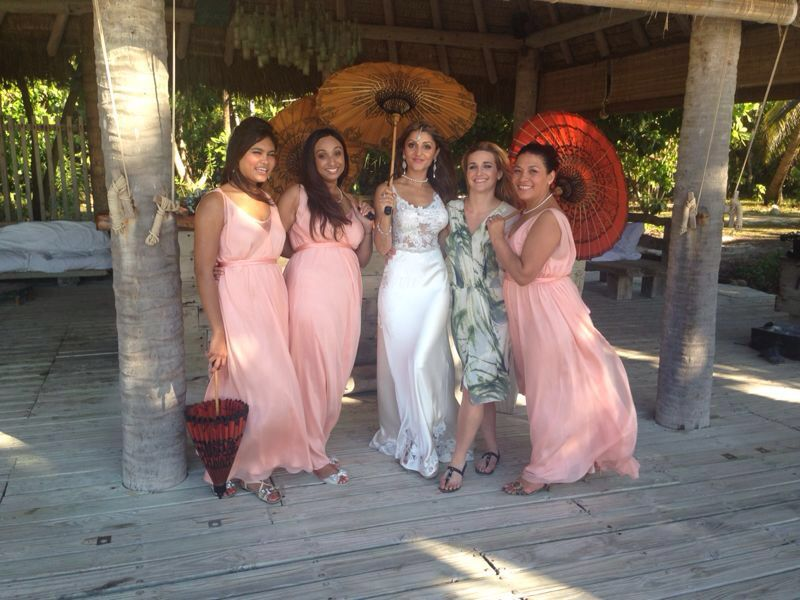 Stunning long coral silk chiffon bridesmaid dresses, beach wedding ...