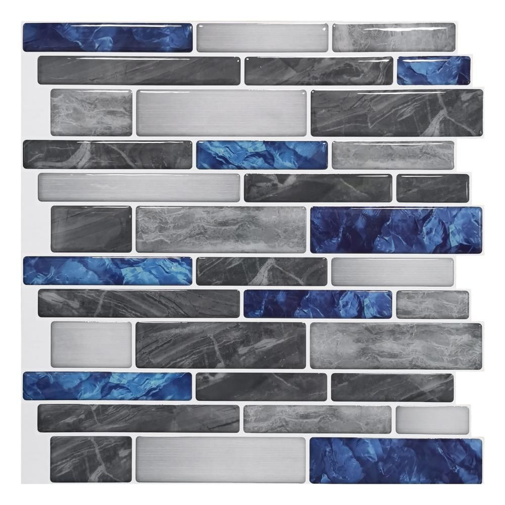 Art3dwallpanels 12 In X 12 In Peel And Stick Backsplash Tile For Kitchen Self Adhesive Blue Marble In 2020 Tile Backsplash Marble Wall Tiles Peel N Stick Backsplash