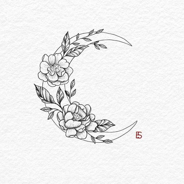 30 Best hot trendy tattoos moon design ideas for women #tattoodrawings