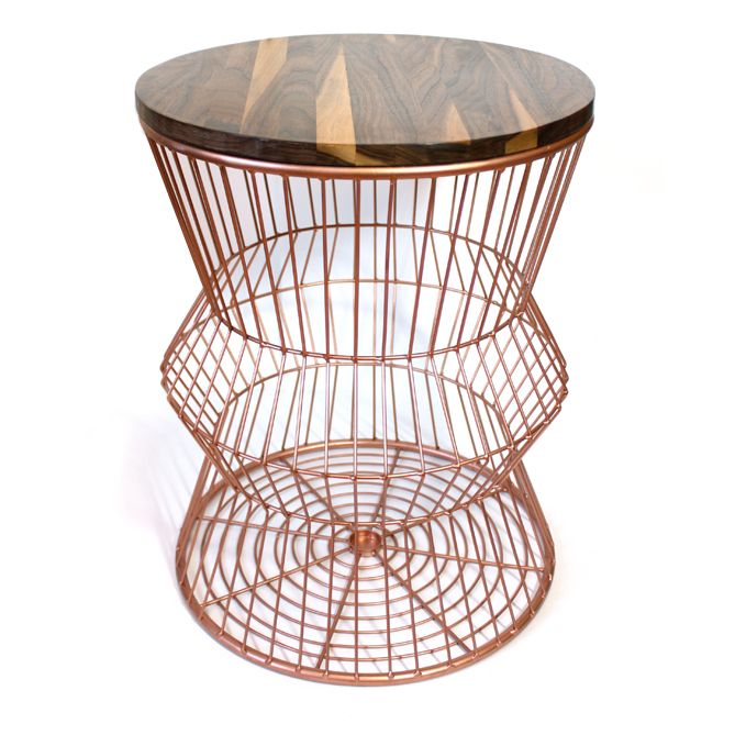 Copper Colored Wire Side Table With A Hand Made Butcher Block