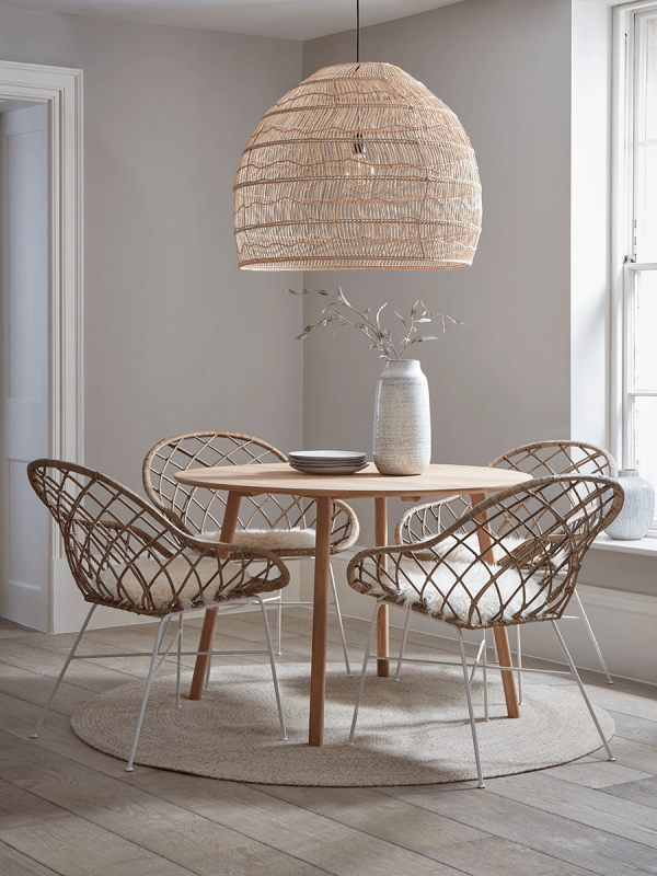 Round Rattan Open Weave Chair In 2020 Rattan Dining Chairs Round Oak Dining Table Luxury