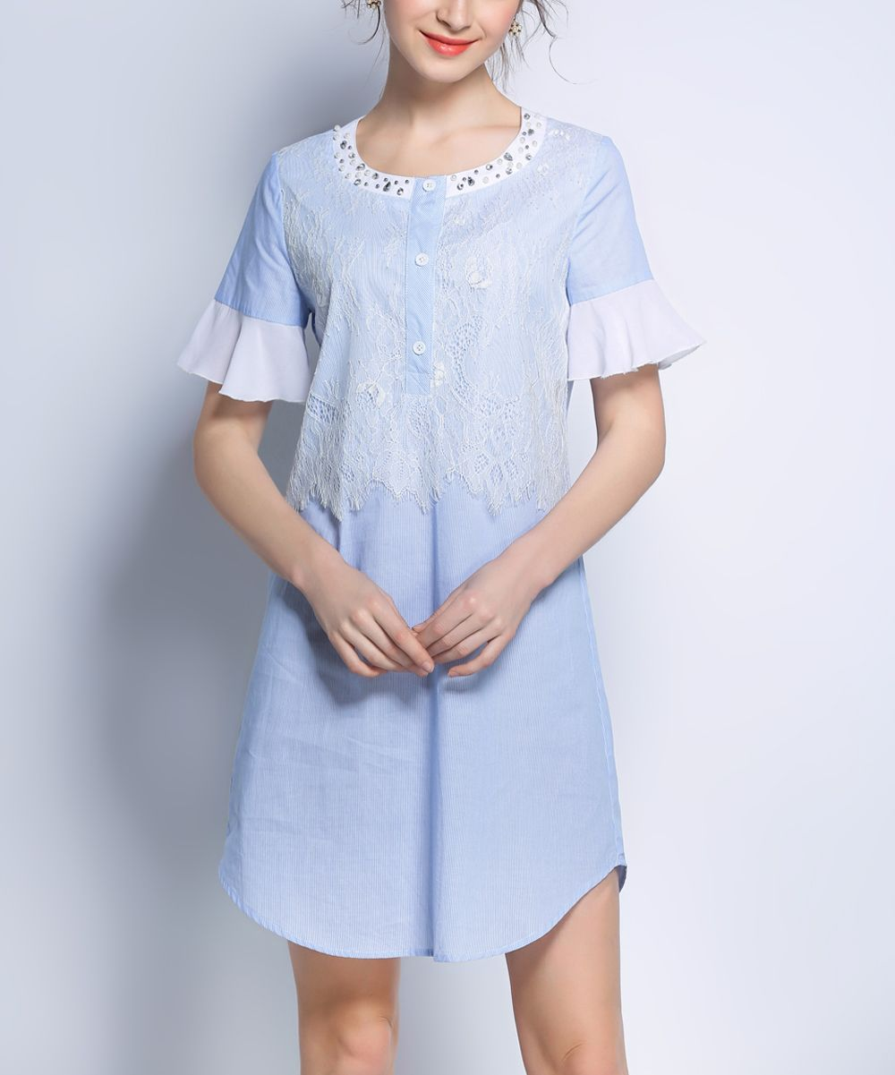 Blue Ruffle-Sleeve Button-Front Top