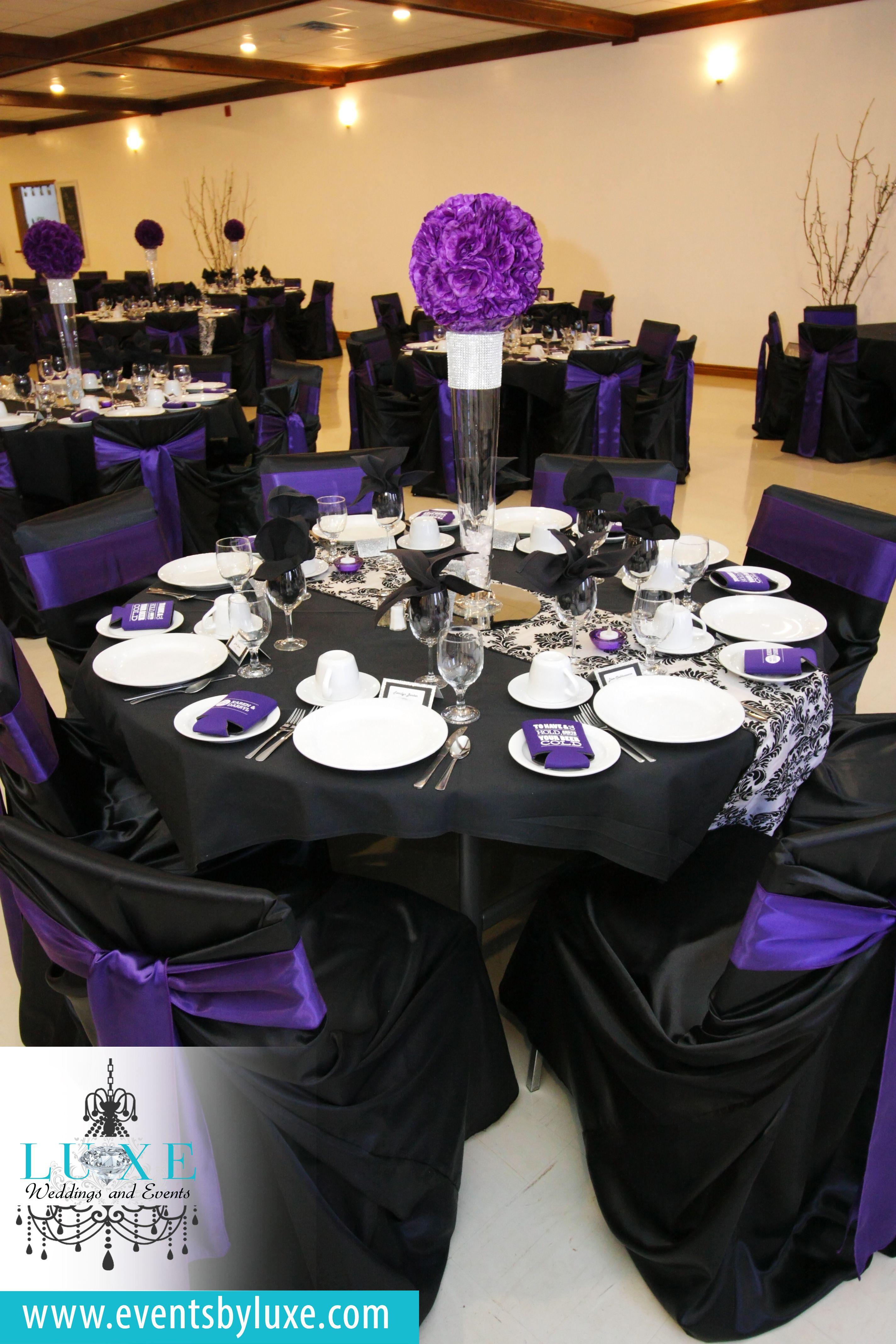 Wedding chairs black and white - Purple Black And White Damask Wedding Decor Damask Wedding Decor Purple