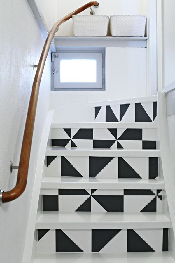 Basements · stickable wallpaper transforming stairs - Tri-Angled Basement Stair, Stairways And Wallpaper