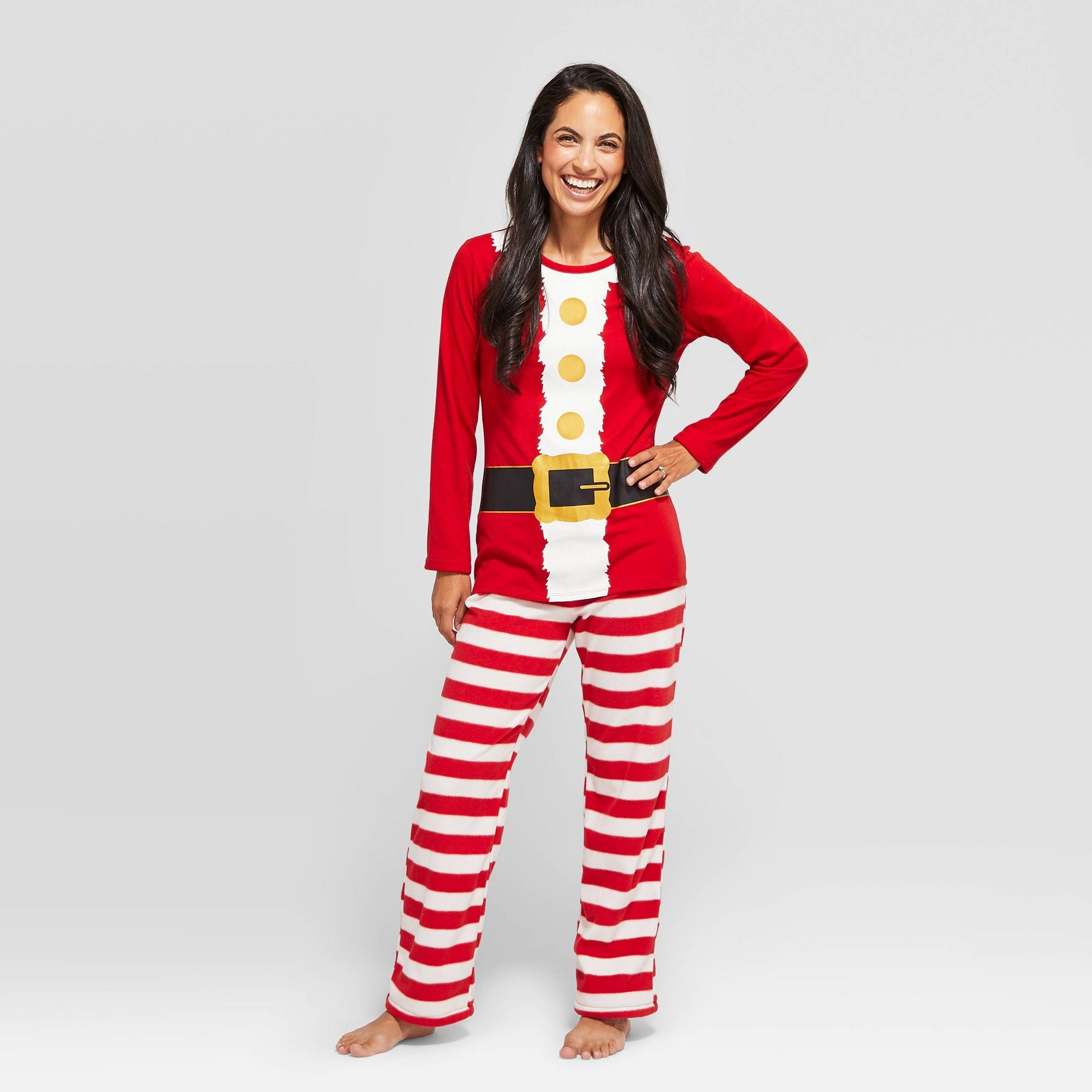 Women's Holiday Santa Pajama Set Red M, Size
