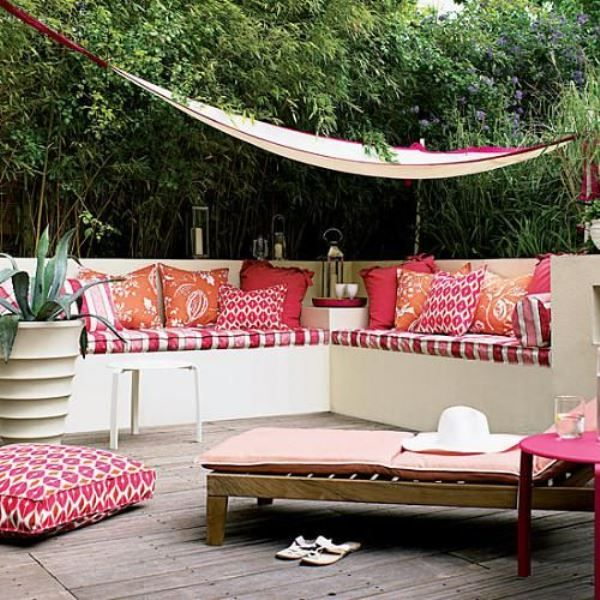 Brightly Colored Bench With Pillows Maybe Use LexiWynn Fabrics - Adore small spaces 22 compact modern ideas outdoor seating areas