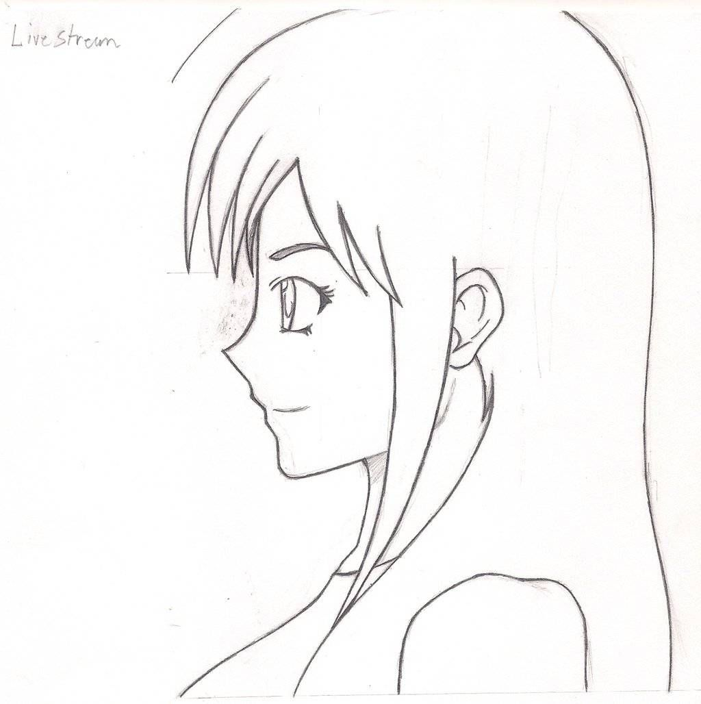 Girl Anime Drawing Side View