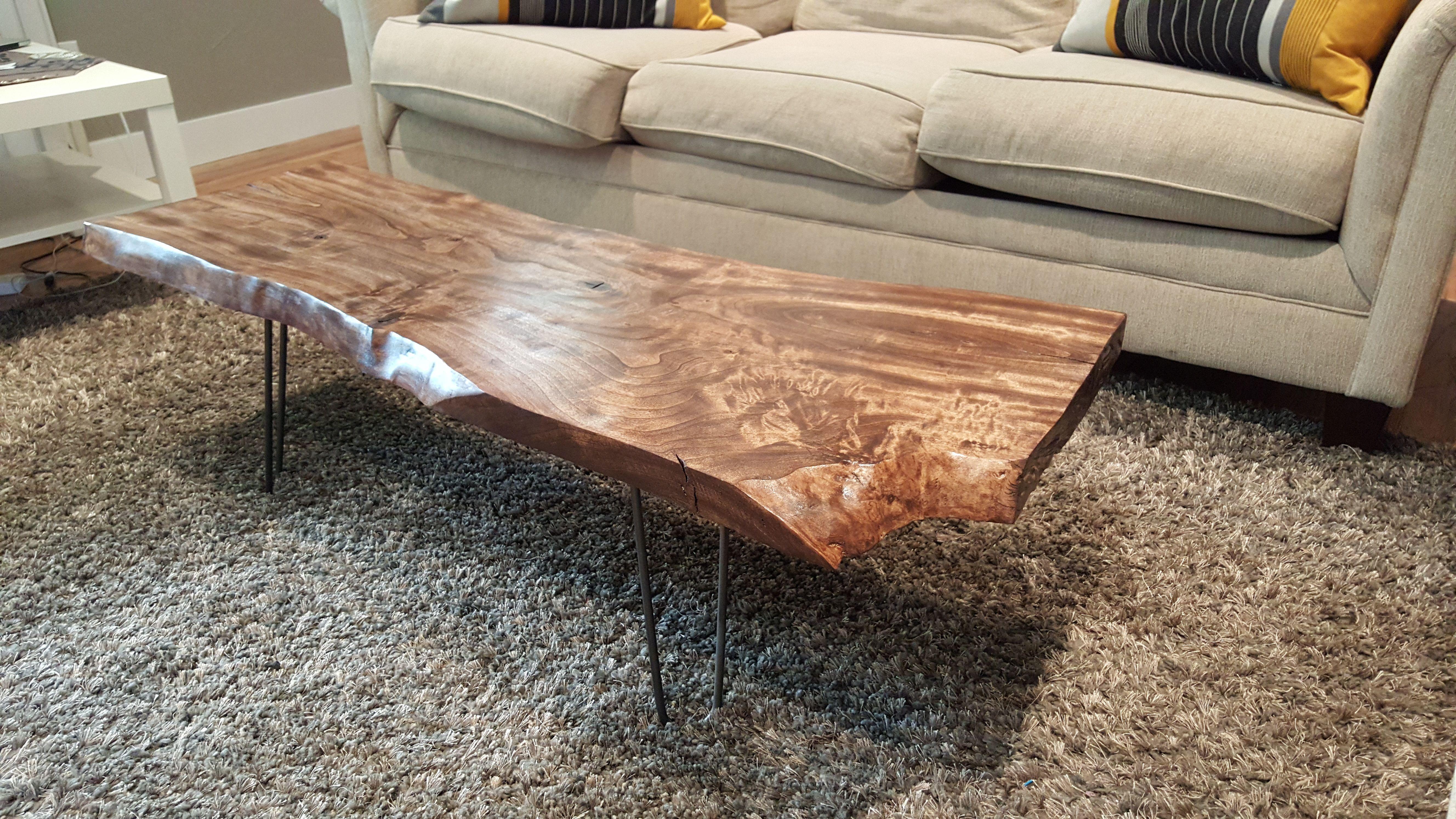 Diy raw edge wood coffee table