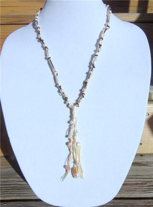 Freshwater Pearl and Leather Necklace Pearl Cluster 14k GP Bell Cap Beach 521 ~~