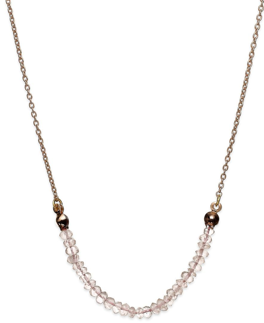 Studio Silver Rose Quartz Beaded Frontal Necklace in 18k Rose Gold over Sterling Silver (1/5 ct. t.w.)