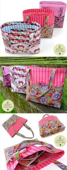 Free sewing pattern for these sturdy and stylish market tote bags. Fully lined, pockets inside and out - love them!