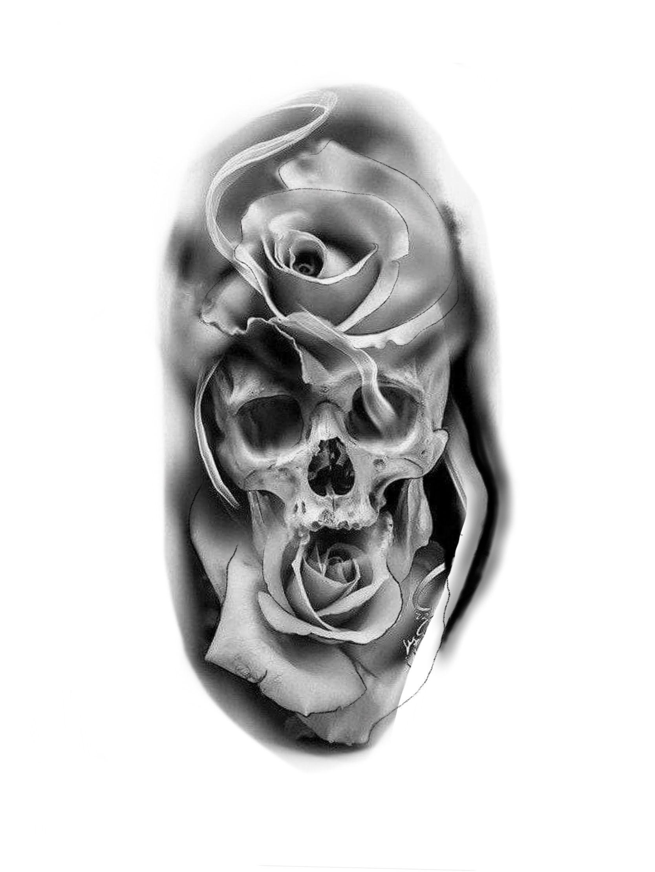 tattoo ideas by BERNICE Skull rose tattoos, Skull tattoo