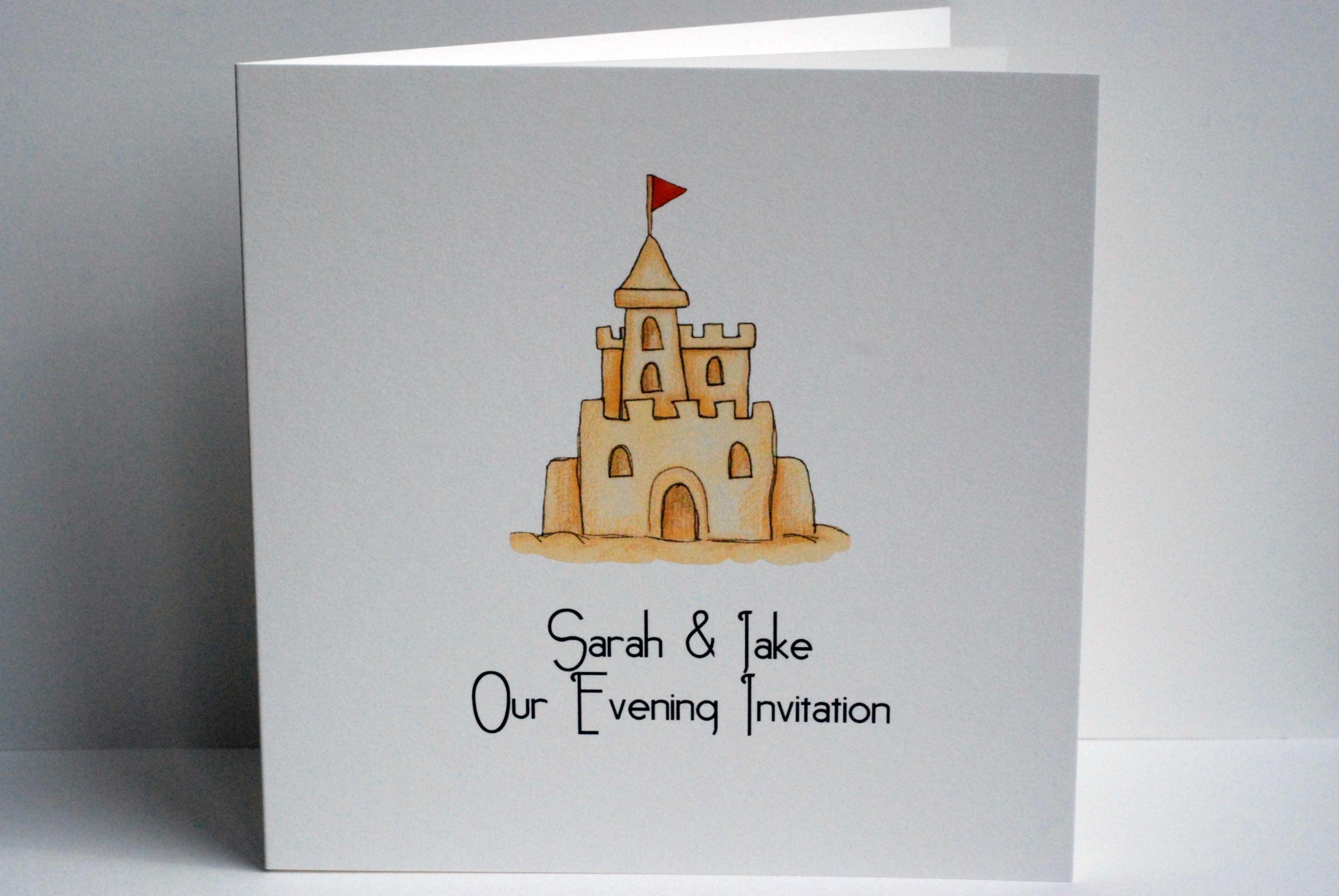 Printed Sandcastle Wedding Invitation £1.50