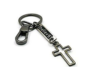Amazon.com: BrownBeans, Black Alloy Cute Christian Cross Keychain Key Chain Ring Holder (BBKC1010): Automotive