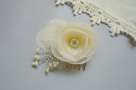 Bridal Flower Feather Fascinator  Bridal Hair Flower by GingiBeads, $37.50