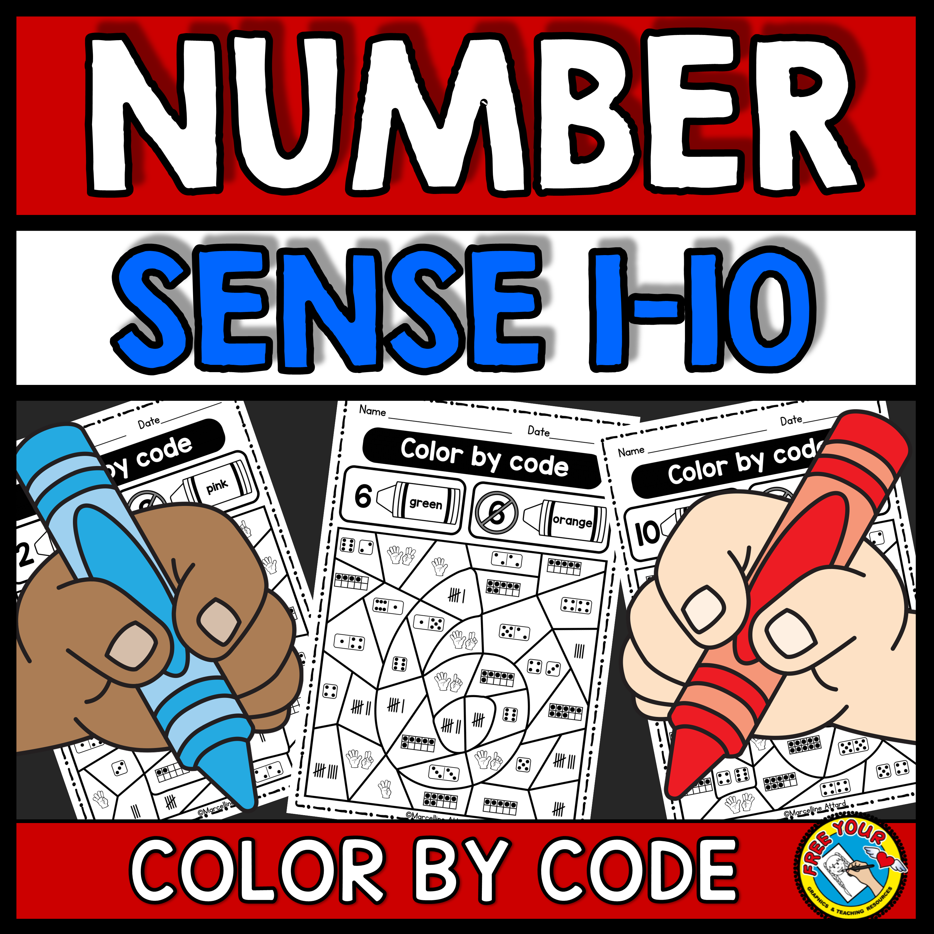 Kindergarten Color By Number Sense Worksheets 1 10