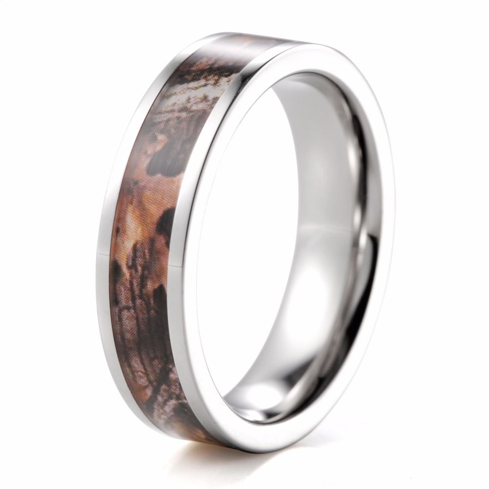Outdoor 6mm Titanium Autumn Maple Leafs Camo Ring Engagement Ring Camouflage wedding band men ring women rings