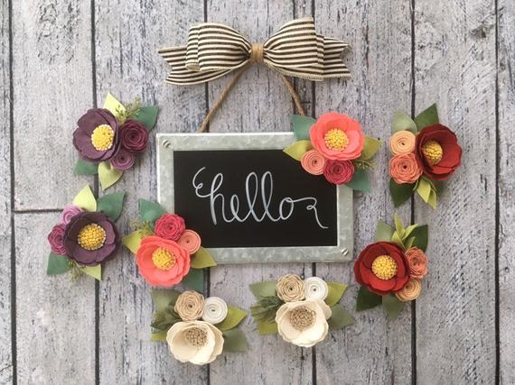 Chalkboard Sign With Galvanized Metal Edge Hello Or Welcome Sign Set Of Two Felt Flowers Magn With Images Felt Flowers Flower Magnets Chalkboard Signs