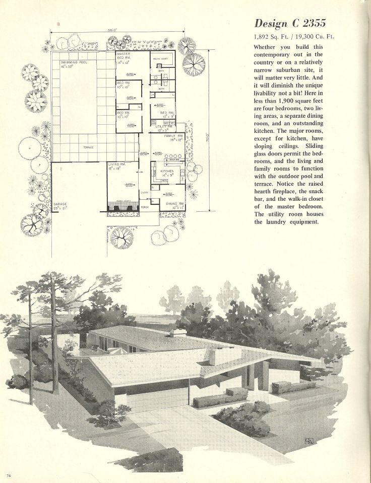 Vintage House Plans 2355 Mid Century Modern House Vintage House Plans Mid Century Modern House Plans