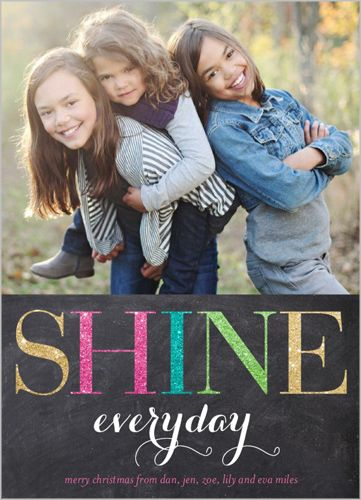 This sparkled embellishment adds a fun touch | Shine Everyday Holiday Card at Shutterfly.com
