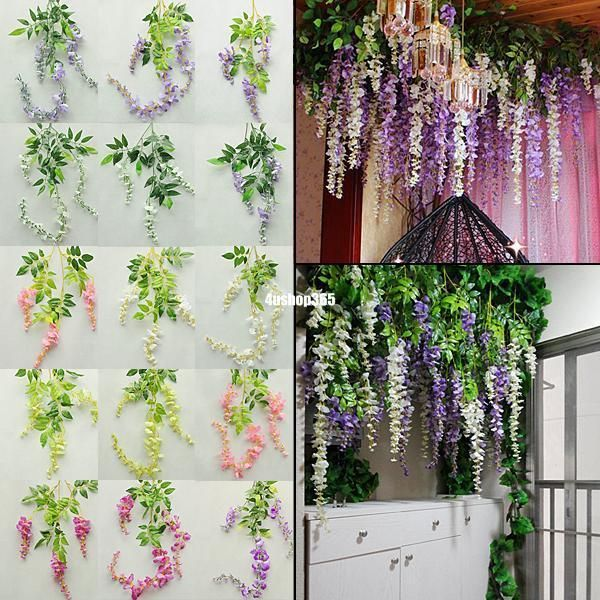 Long string artificial silk wisteria flower vine hanging garland long string artificial silk wisteria flower vine hanging garland wedding decor mightylinksfo Choice Image