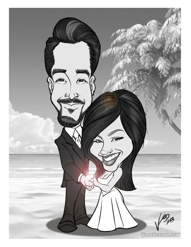 Forgot to get something special? A Couples #Caricature makes a unique Valentine's Day gift!