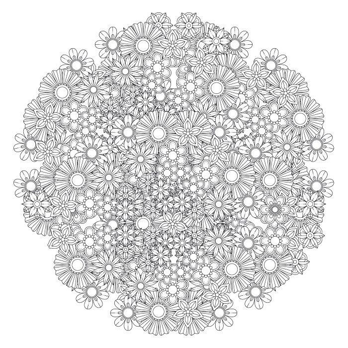 Flower Mandala Coloring Page 988 花の曼荼羅, 曼荼羅, 幾何学的デザイン