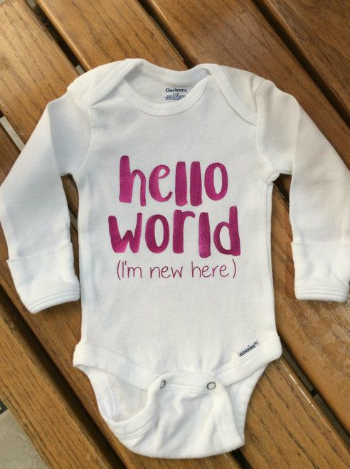 9092e7d5b Girls Newborn Metallic Fuschia Pink hello world I m new here onesie ...