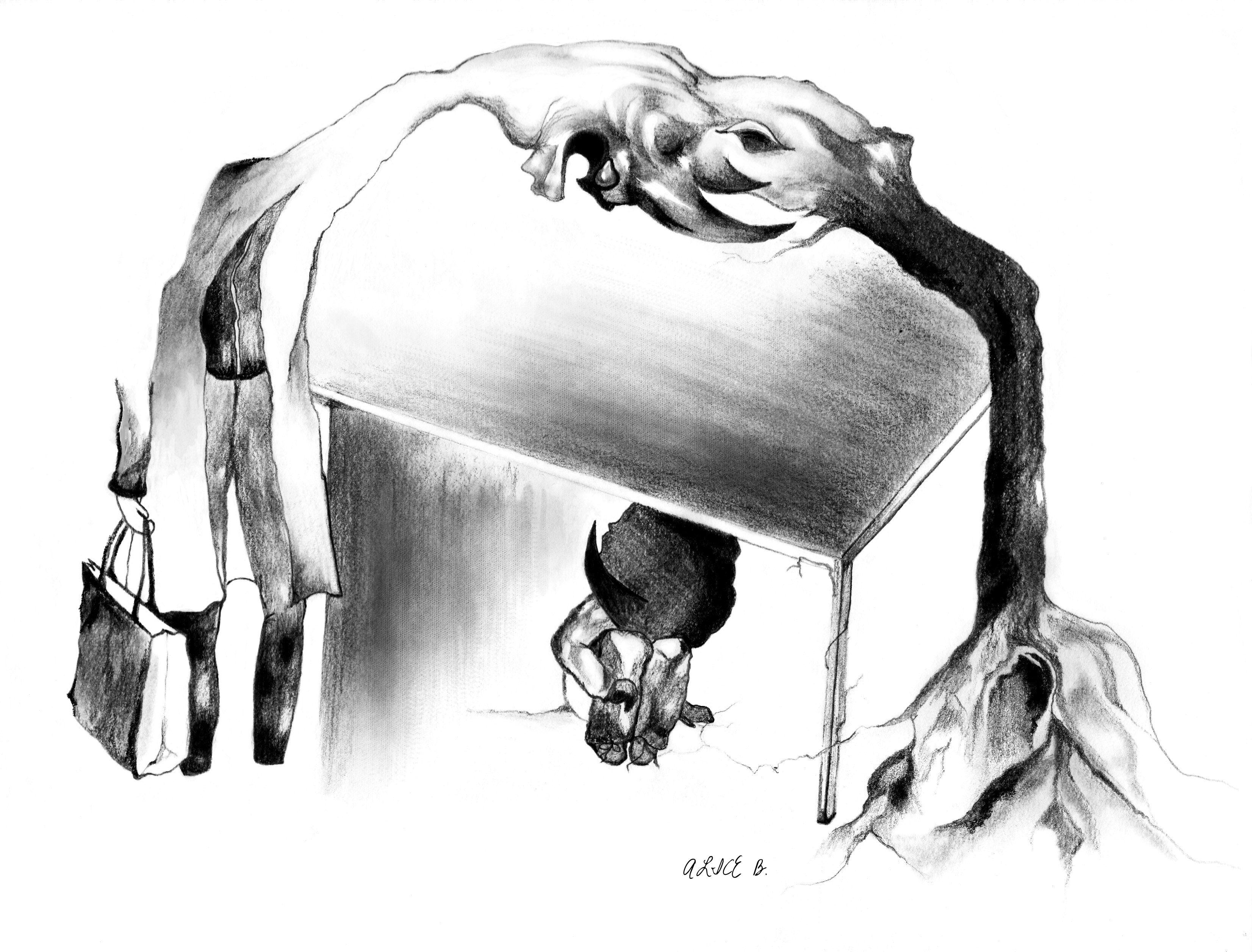 dessin loufoque crayon papier noir et blanc illustration toulouse la singuliere. Black Bedroom Furniture Sets. Home Design Ideas
