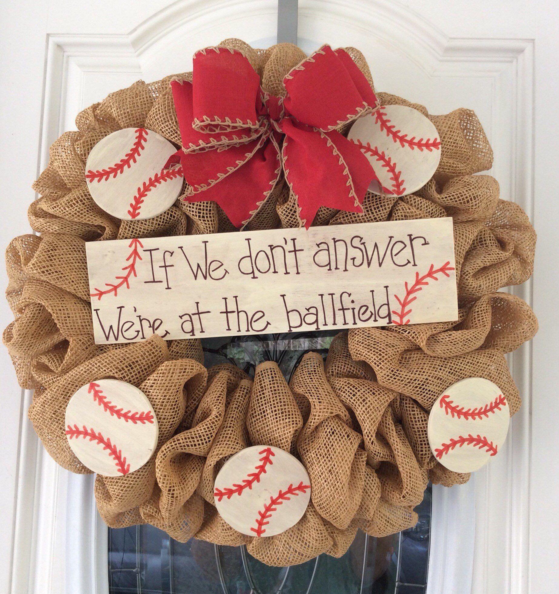 Baseball wall hanging baseball front door wreath