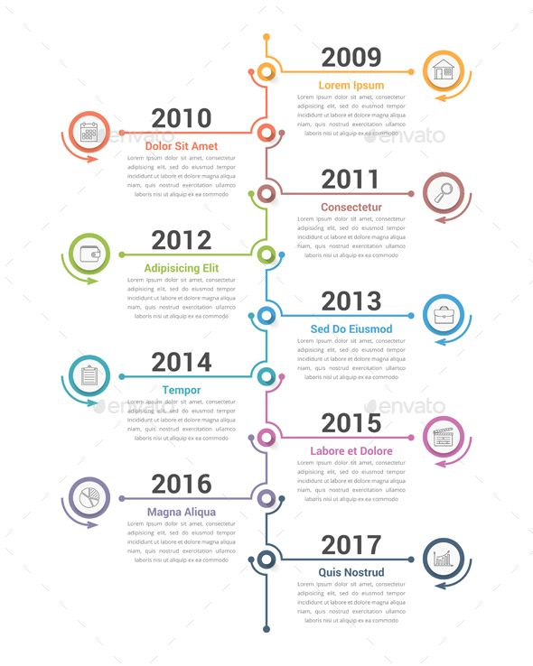 Timeline Template Powerpoint Elegant Flat Roadmap Horizontal