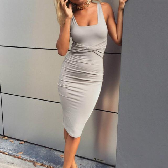 Office Dresses Women Summer Dress Scoop Collar Sleeveless Tight Dresses  Clubwear Party Dresses Vestidos De Festa LJ8361R a5719d1e3