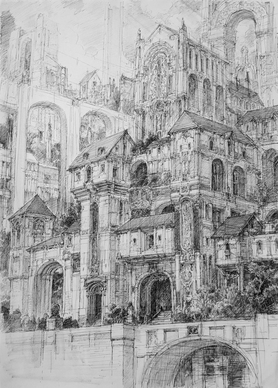 Infinite Cities Take Shape in Imagined Architectural Drawings by JaeCheol Park