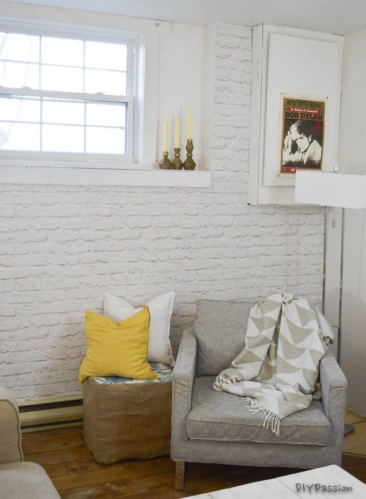 How To Brick An Interior Wall In One Day Diy Passion White Brick Walls Brick Wallpaper Faux Brick Wallpaper