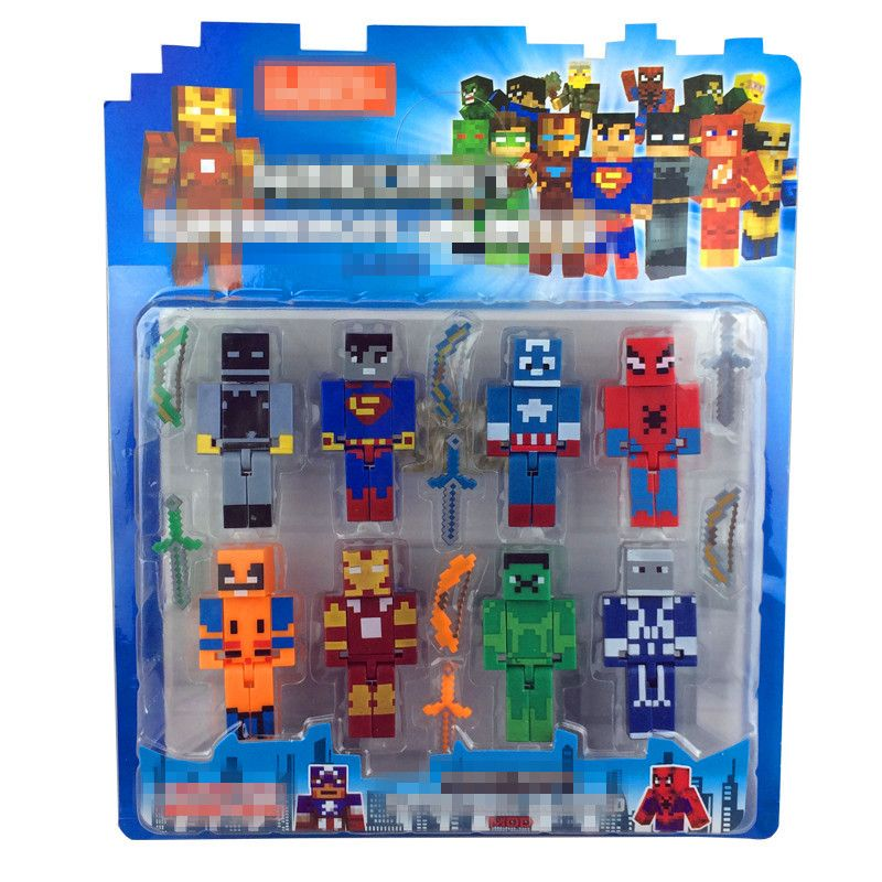 $8.75 (Buy here: http://appdeal.ru/6pnb ) 8 PCS/lot Minecraft Game Brinquedo Toys Avengers Super Hero Justice League Building Blocks Toys Action Toy Figures For Gift for just $8.75