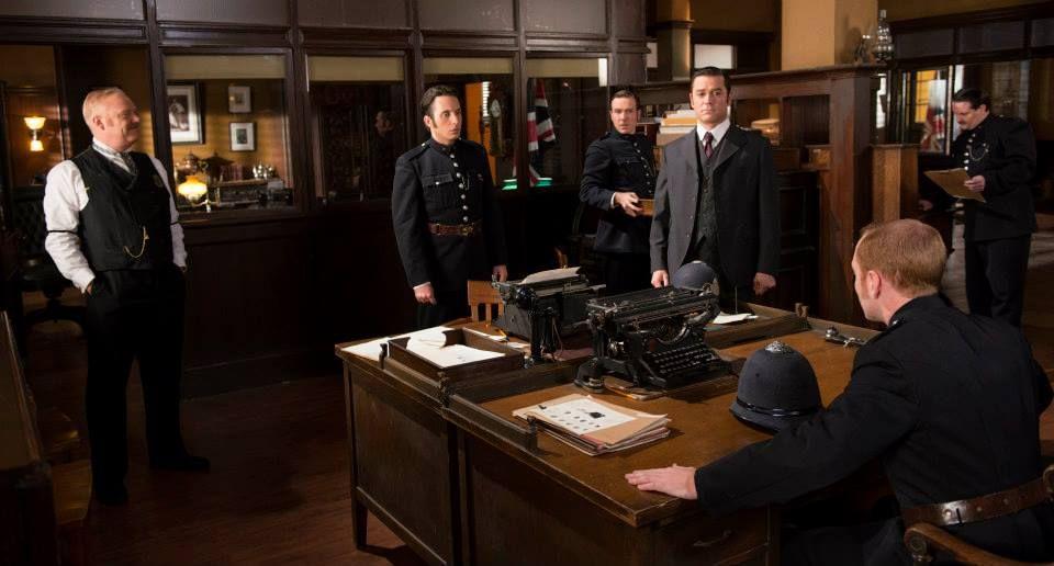 Murdoch Mysteries: Brackenreid, Crabtree, Higgins and Murdoch watch Charlie Brackenreid get comfortable in the bullpen