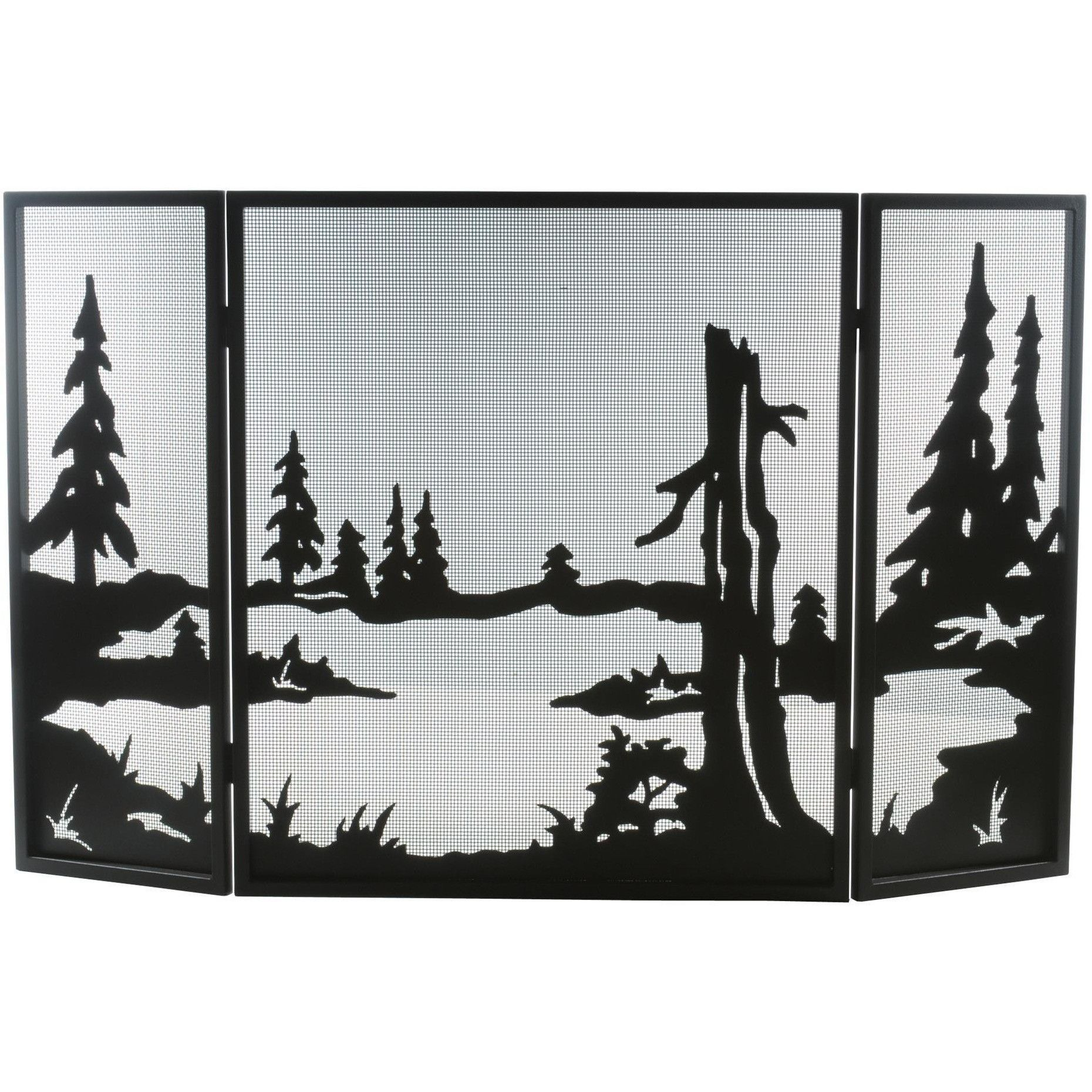 52 inch w x 32 inch h quiet pond folding fireplace screen