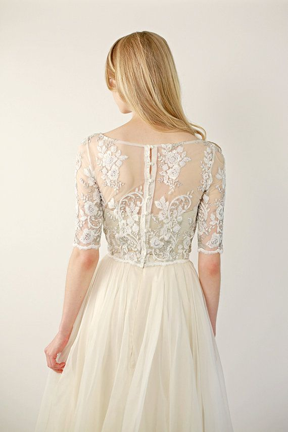Beaded Lace Wedding Top Separate Fontaine Half Sleeve By Leanimal