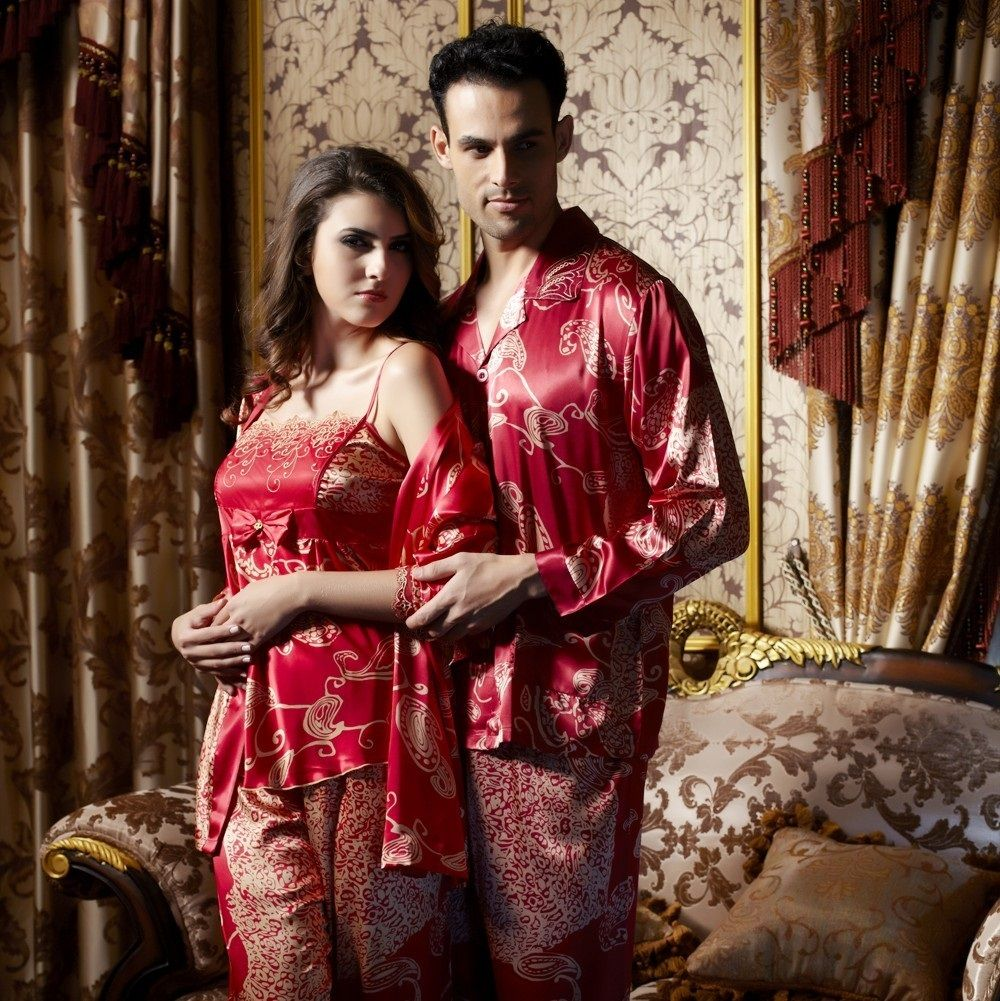e5ac9e407d Luxury Silk His   Hers Matching Couples Pajamas Sleepwear Sets .
