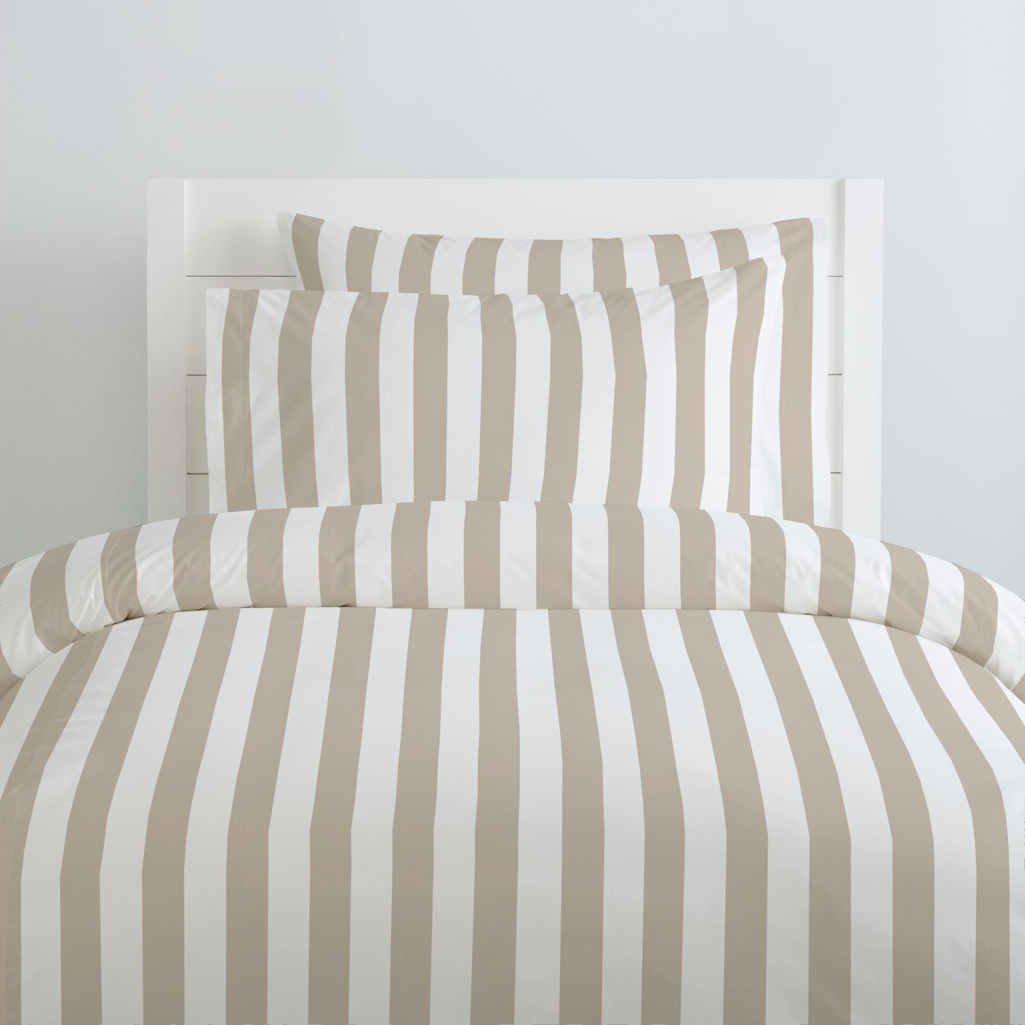 tan and white striped duvet cover