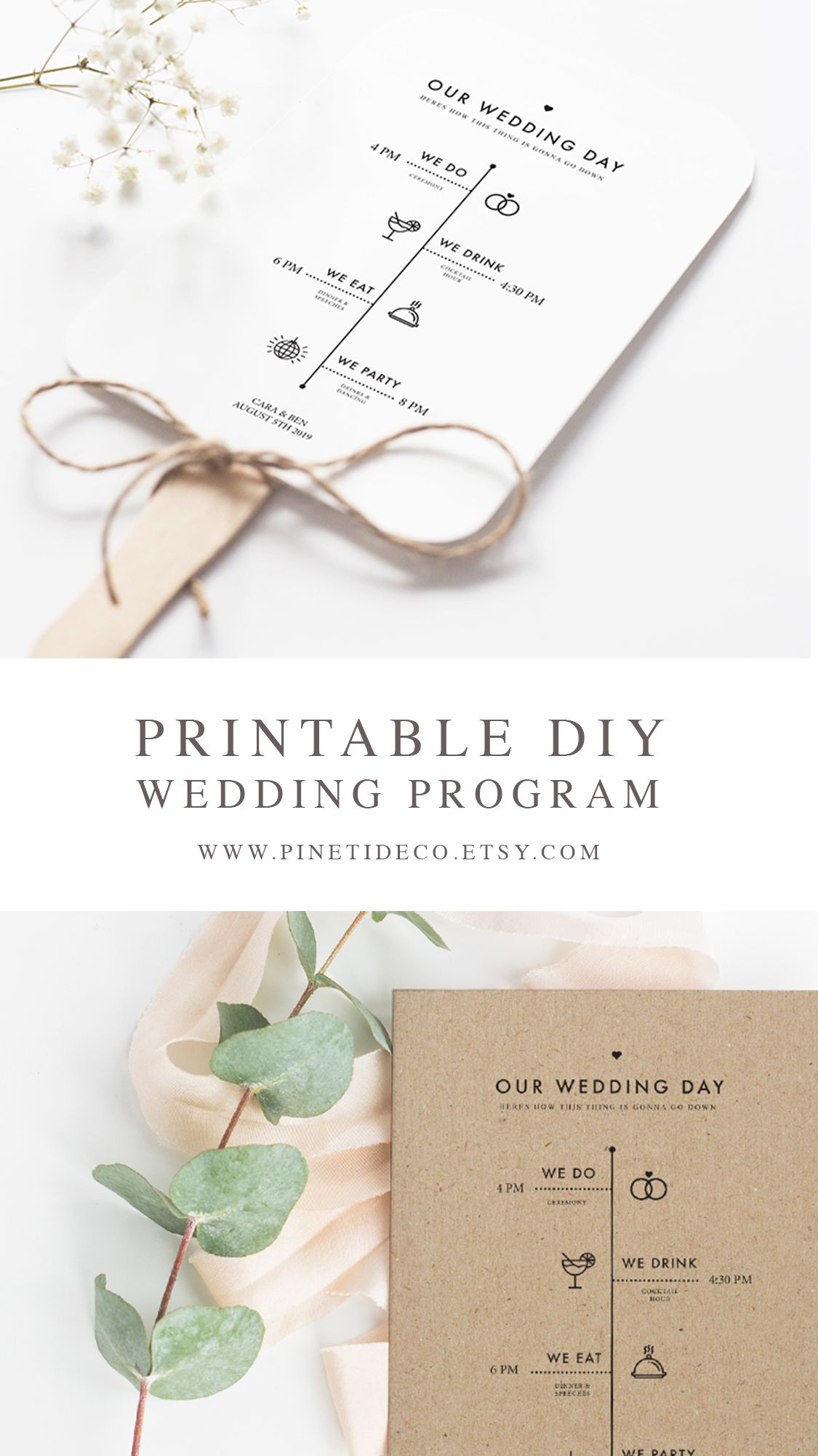 Editable wedding program rustic minimalist wedding diy wedding