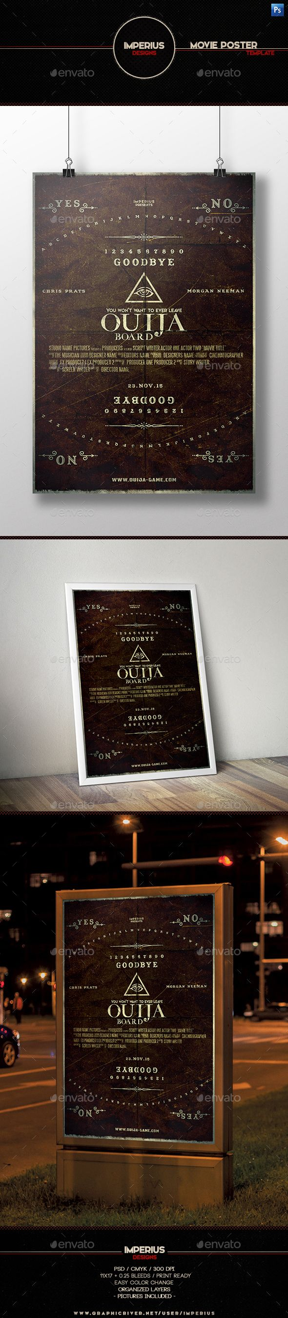 Ouija Board Movie Poster Template Features1117 025 Bleeds CMYK 300DPI Print Ready Organised Layers Easy Color Change Help FileFonts UsedAmerican