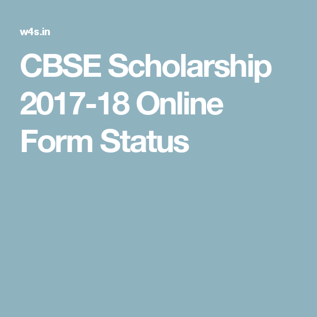 Cbse Scholarship  Online Form Status  Government Jobs