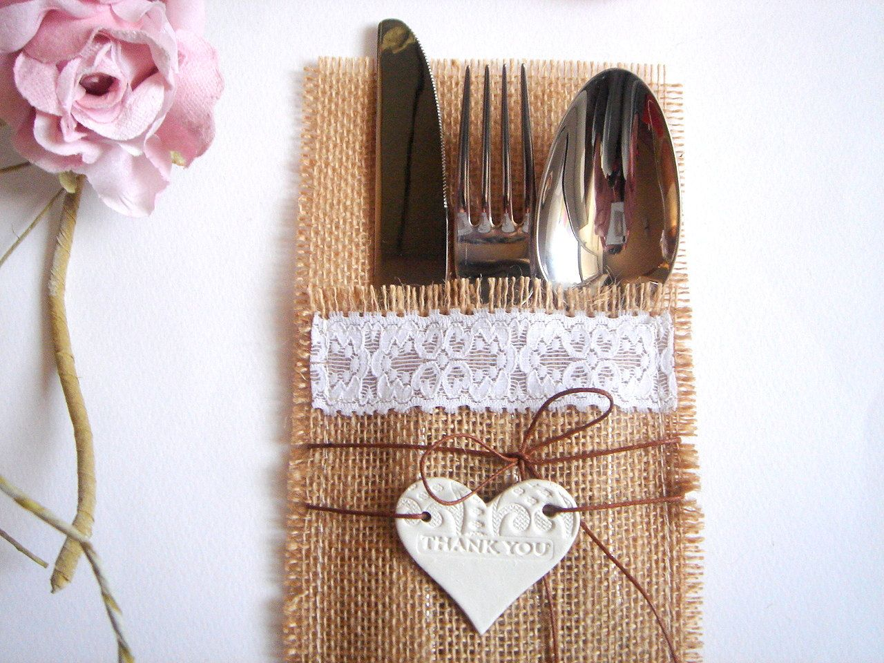Diy silverwear pocket on your wedding tables for your guests with a