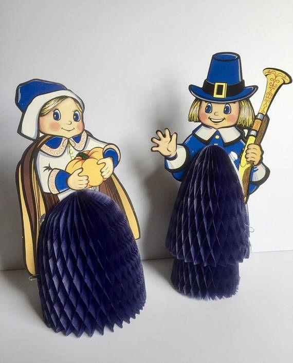 Vintage Thanksgiving Beistle Honeycombs Pilgrims Turkey
