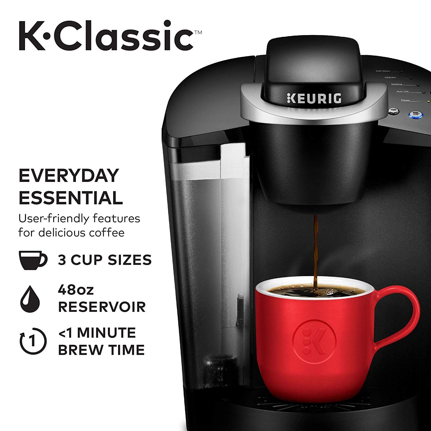 Keurig K55/KClassic Coffee Maker, KCup Pod, Single Serve