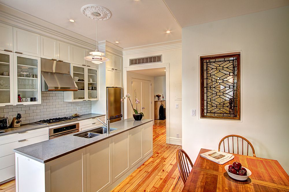 Kitchen and dining room in brownstone renovation in Park