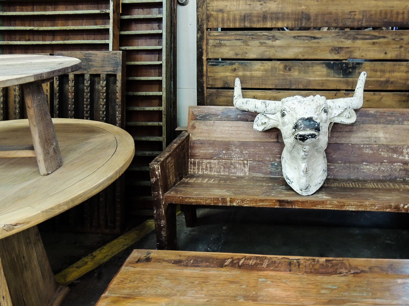 Simple. Rustic. Wood. #cowskull #cowhead #wooden #wood #table #bench ...